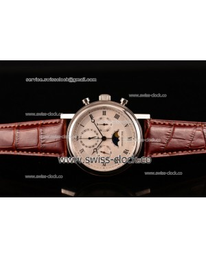 Breguet Grande Complication Moon Phase Chronogrpah SS White Dial on Brown Leather Strap A7750 201506153994 (GF)