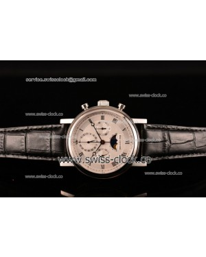 Breguet Grande Complication Moon Phase Chronogrpah SS White Dial on Black Leather Strap A7750 201506154010 (GF)