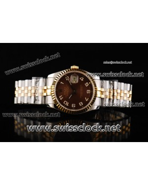 Rolex Datejust Jubilee Fluted Bezel TT Brown Concentric Dial Swiss ETA 2836 Numeral Markers RL11002