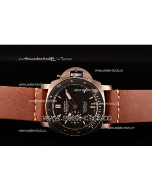 Panerai Luminor Submersible 1950's Amagnetic 3 Days Automatic Titanio PAM00389 Titanium Black Dial on Brown Leather AST25 201506153704